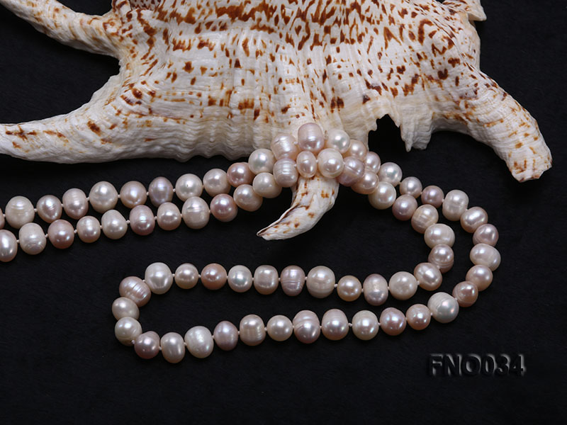 8-9mm colorful round freshwater pearl necklace big Image 5