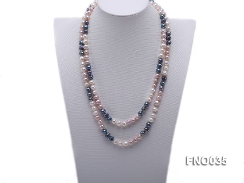 7-8mm colorful round freshwater pearl necklace big Image 1