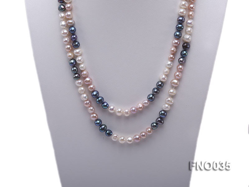 7-8mm colorful round freshwater pearl necklace big Image 2