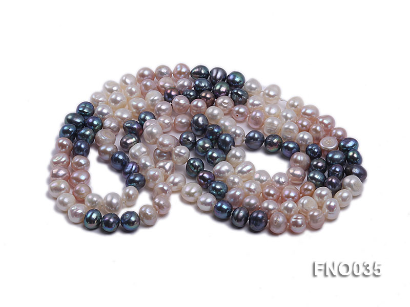 7-8mm colorful round freshwater pearl necklace big Image 3