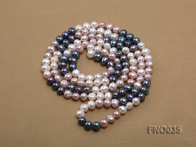 7-8mm colorful round freshwater pearl necklace big Image 4