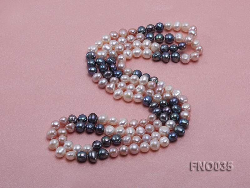 7-8mm colorful round freshwater pearl necklace big Image 5