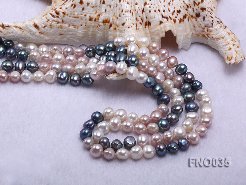 7-8mm colorful round freshwater pearl necklace big Image 6