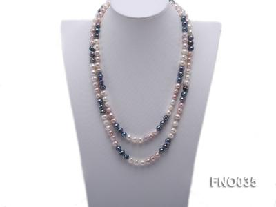 7-8mm colorful round freshwater pearl necklace FNO035 Image 1