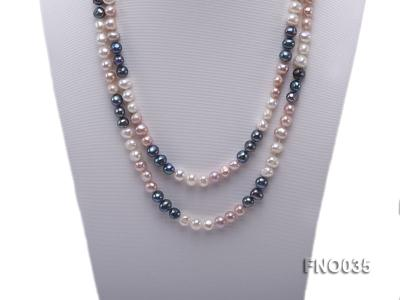 7-8mm colorful round freshwater pearl necklace FNO035 Image 2
