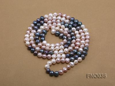7-8mm colorful round freshwater pearl necklace FNO035 Image 4
