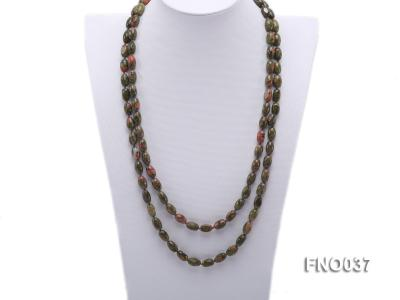8x12mm colorful drum-shaped stone necklace FNO037 Image 1