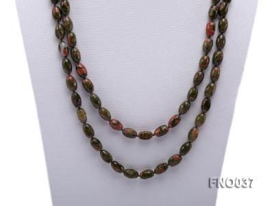 8x12mm colorful drum-shaped stone necklace FNO037 Image 2