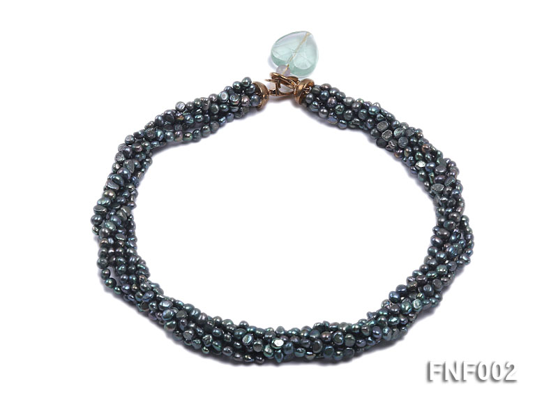 Six-strand Purplish-grey Freshwater Pearl Necklace wiht a with a Blue Sand-stone Necklace big Image 1