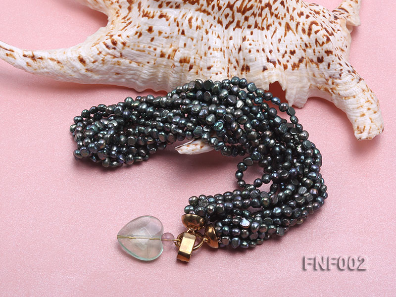 Six-strand Purplish-grey Freshwater Pearl Necklace wiht a with a Blue Sand-stone Necklace big Image 3