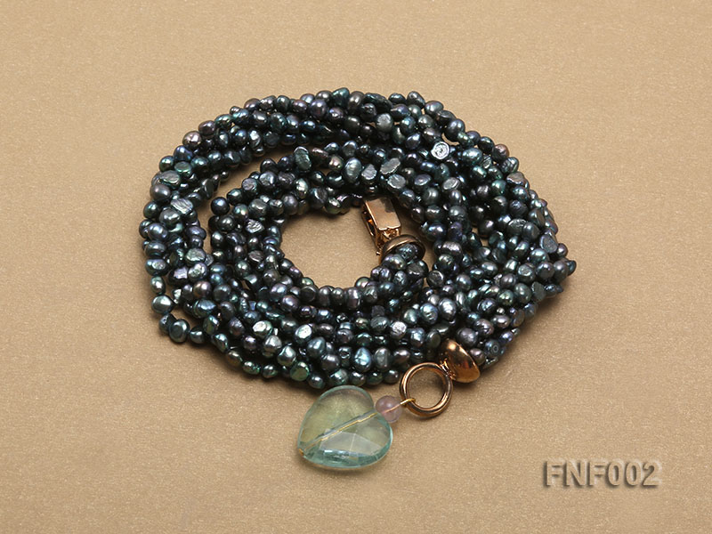 Six-strand Purplish-grey Freshwater Pearl Necklace wiht a with a Blue Sand-stone Necklace big Image 4
