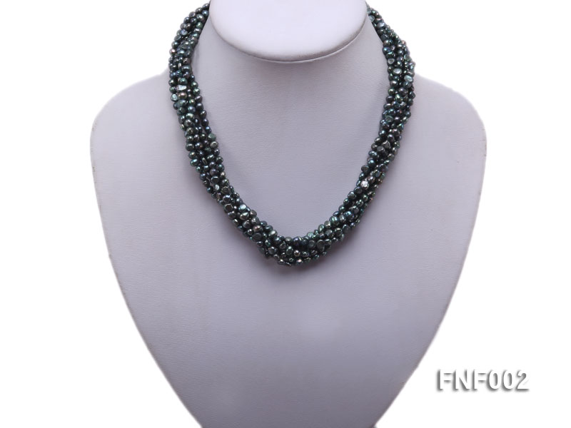 Six-strand Purplish-grey Freshwater Pearl Necklace wiht a with a Blue Sand-stone Necklace big Image 5