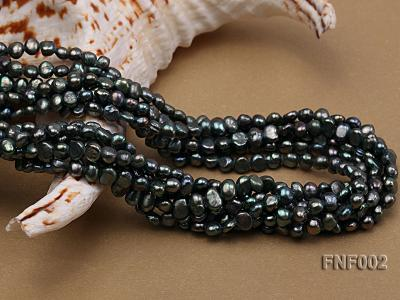 Six-strand Purplish-grey Freshwater Pearl Necklace wiht a with a Blue Sand-stone Necklace FNF002 Image 7