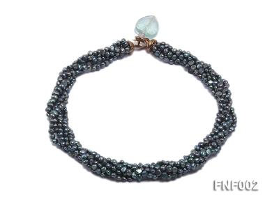 Six-strand Purplish-grey Freshwater Pearl Necklace wiht a with a Blue Sand-stone Necklace FNF002 Image 1