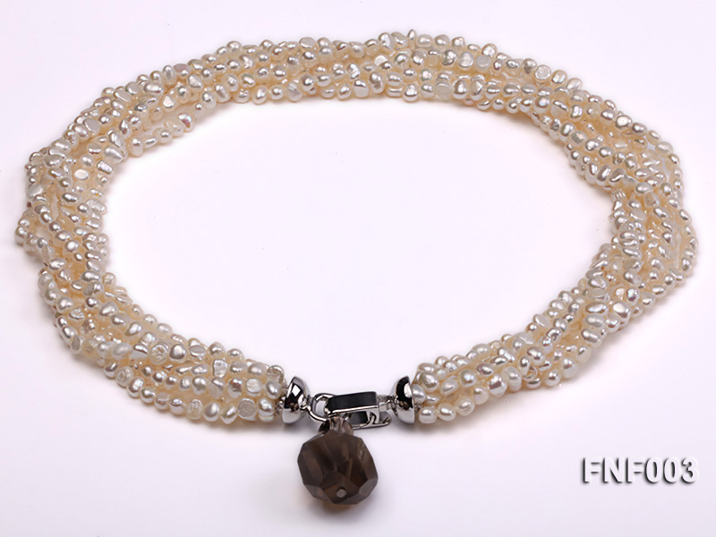 Six-strand 4-5mm White Flat Freshwater Pearl Necklace with a Smoky Quartz Pendant big Image 1