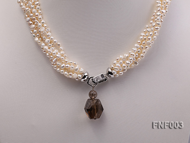 Six-strand 4-5mm White Flat Freshwater Pearl Necklace with a Smoky Quartz Pendant big Image 5