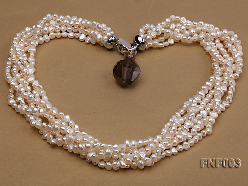 Six-strand 4-5mm White Flat Freshwater Pearl Necklace with a Smoky Quartz Pendant big Image 3