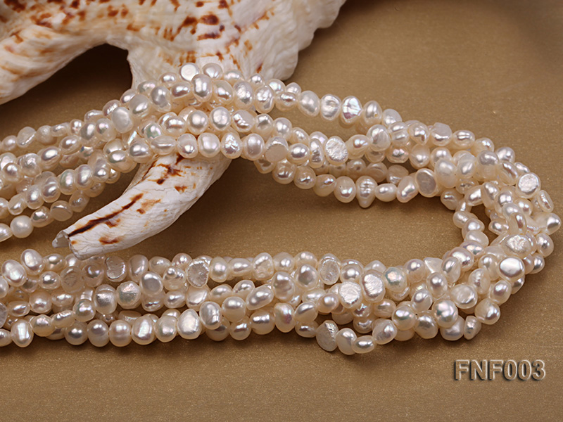Six-strand 4-5mm White Flat Freshwater Pearl Necklace with a Smoky Quartz Pendant big Image 6