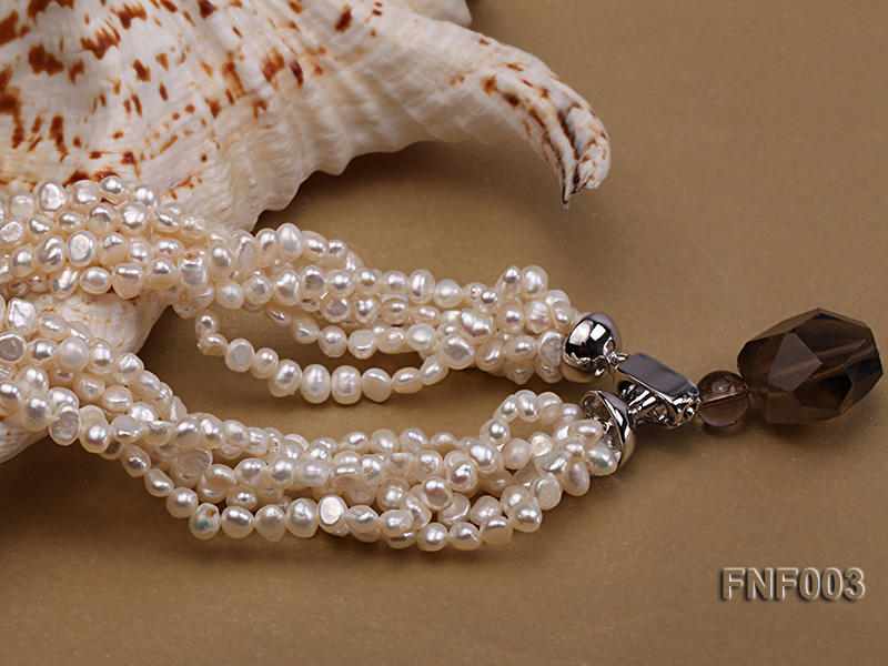Six-strand 4-5mm White Flat Freshwater Pearl Necklace with a Smoky Quartz Pendant big Image 7