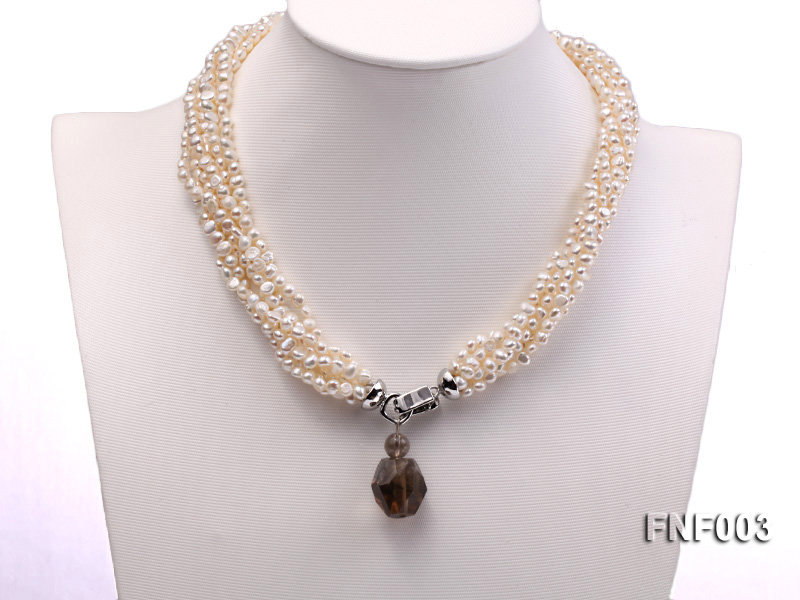 Six-strand 4-5mm White Flat Freshwater Pearl Necklace with a Smoky Quartz Pendant big Image 2