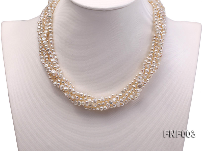 Six-strand 4-5mm White Flat Freshwater Pearl Necklace with a Smoky Quartz Pendant big Image 4