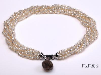Six-strand 4-5mm White Flat Freshwater Pearl Necklace with a Smoky Quartz Pendant FNF003 Image 1