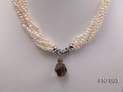 Six-strand 4-5mm White Flat Freshwater Pearl Necklace with a Smoky Quartz Pendant FNF003 Image 5