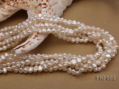 Six-strand 4-5mm White Flat Freshwater Pearl Necklace with a Smoky Quartz Pendant FNF003 Image 6