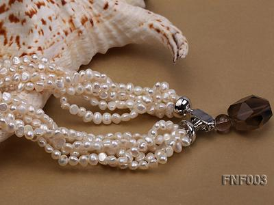 Six-strand 4-5mm White Flat Freshwater Pearl Necklace with a Smoky Quartz Pendant FNF003 Image 7