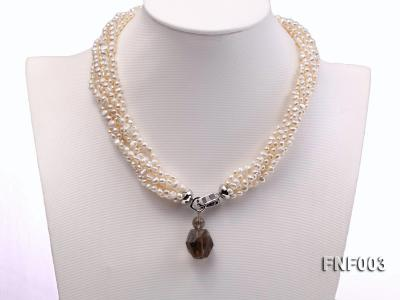 Six-strand 4-5mm White Flat Freshwater Pearl Necklace with a Smoky Quartz Pendant FNF003 Image 2