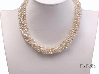 Six-strand 4-5mm White Flat Freshwater Pearl Necklace with a Smoky Quartz Pendant FNF003 Image 4