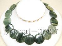 30mm Green Rutile Quartz Disk Necklace CFN207