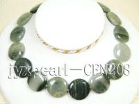 25mm Green Rutile Quartz Disk Necklace CFN208