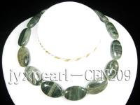 20x30mm Green Rutile Quartz Disk Necklace CFN209