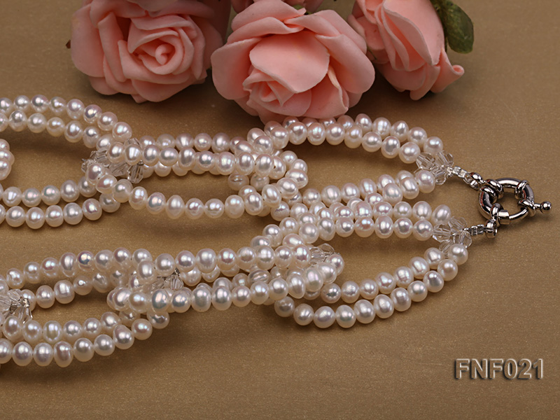 4-5mm Freshwater Pearl and Crystal Beads Necklace big Image 3