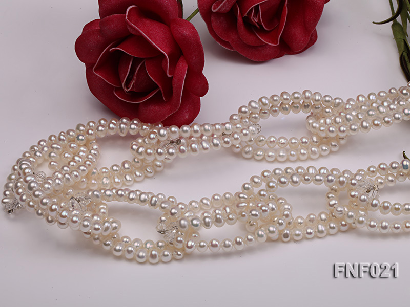 4-5mm Freshwater Pearl and Crystal Beads Necklace big Image 4