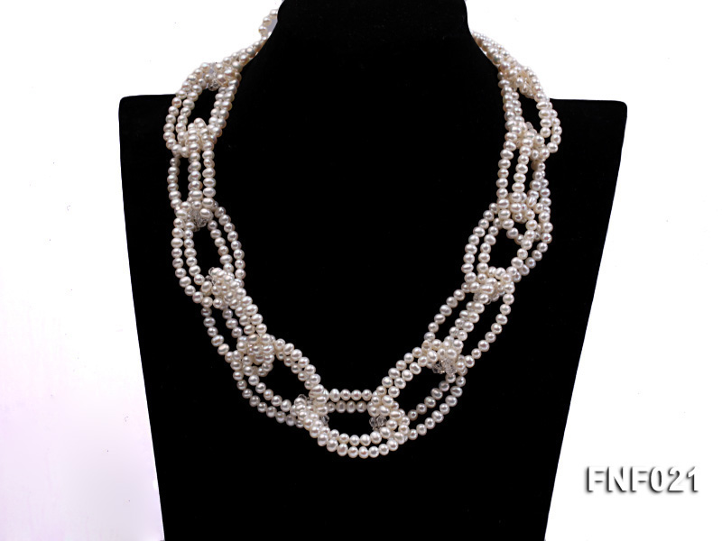 4-5mm Freshwater Pearl and Crystal Beads Necklace big Image 1