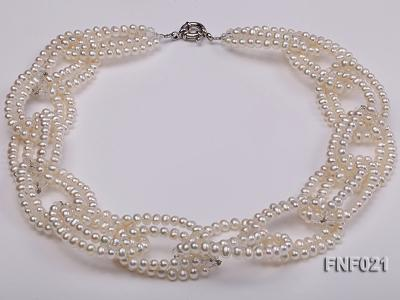4-5mm Freshwater Pearl and Crystal Beads Necklace FNF021 Image 2