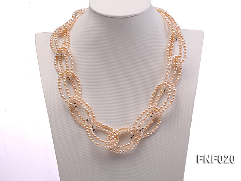 4-5mm Pink Freshwater Pearl and Crystal Beads Necklace big Image 2