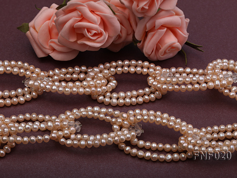 4-5mm Pink Freshwater Pearl and Crystal Beads Necklace big Image 3