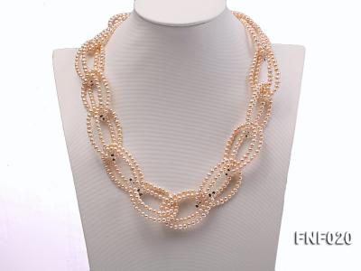 4-5mm Pink Freshwater Pearl and Crystal Beads Necklace FNF020 Image 2