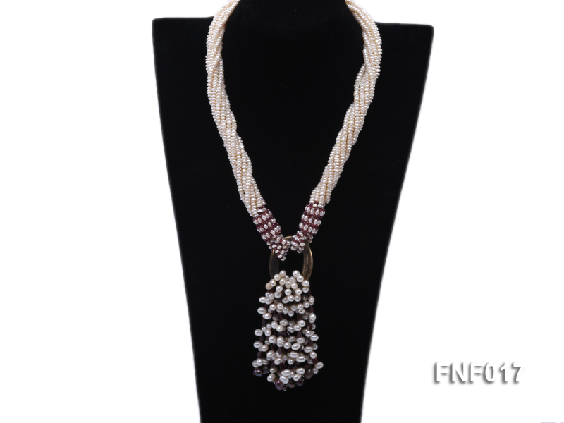 Multi-strand 4-5mm White Freshwater Pearl and Garnet Beads Necklace big Image 1