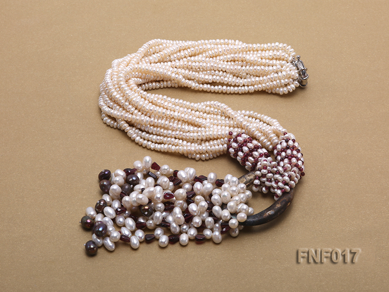 Multi-strand 4-5mm White Freshwater Pearl and Garnet Beads Necklace big Image 2