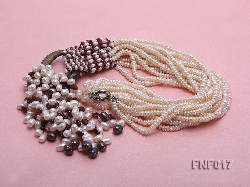 Multi-strand 4-5mm White Freshwater Pearl and Garnet Beads Necklace big Image 3