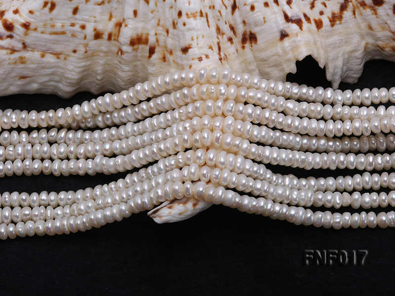 Multi-strand 4-5mm White Freshwater Pearl and Garnet Beads Necklace big Image 4