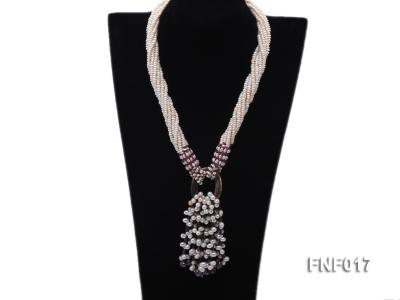 Multi-strand 4-5mm White Freshwater Pearl and Garnet Beads Necklace FNF017 Image 1