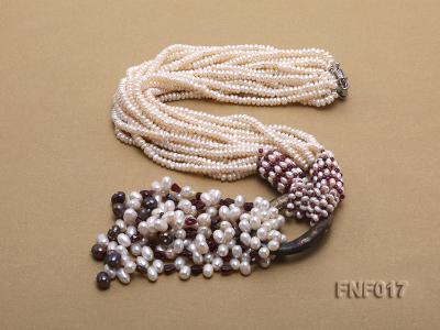 Multi-strand 4-5mm White Freshwater Pearl and Garnet Beads Necklace FNF017 Image 2