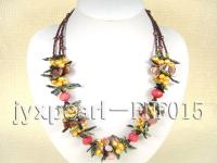 Three-strand Garnet Beads, Freshwater Pearl, Seashell Pieces and Rosestone Beads Necklace FNF015