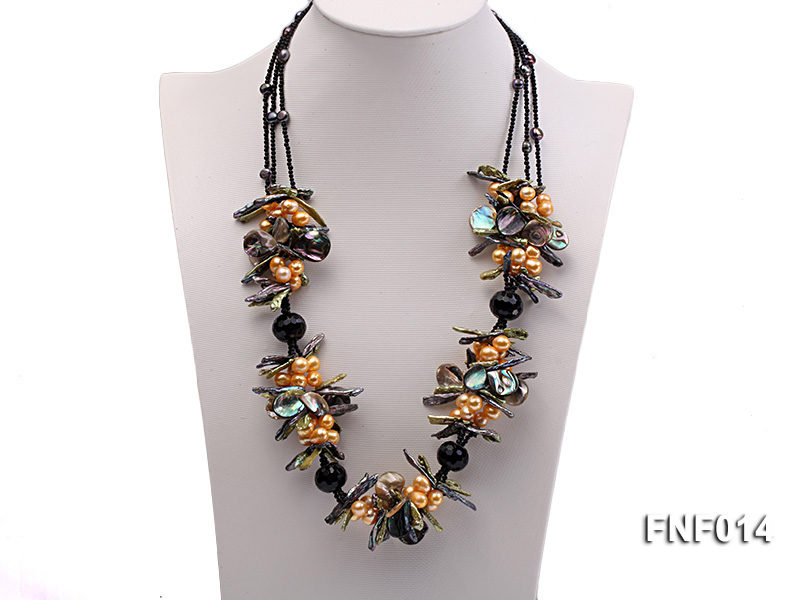 Freshwater Pearl, Agate Beads and Seashell Pieces Necklace big Image 1
