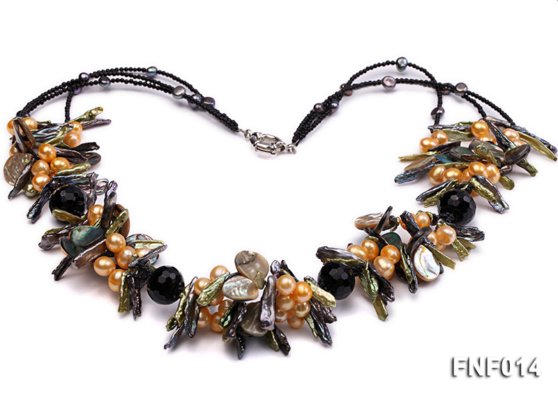 Freshwater Pearl, Agate Beads and Seashell Pieces Necklace big Image 2